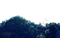De abstracte piek van de kleurenberg en de illustratieachtergrond van de boomwaterverf royalty-vrije stock afbeelding