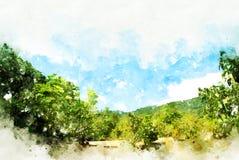 De abstracte piek van de kleurenberg en de illustratieachtergrond van de boomwaterverf stock foto