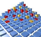 De abstracte piramide van de gegevenskubussen van het stadsblok Stock Fotografie