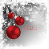 De abstracte prentbriefkaar van Kerstmisbollen - giftcards Stock Afbeelding