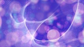 De abstracte purpere golf van kleuren digitale deeltjes met bokehachtergrond royalty-vrije stock afbeelding