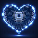De abstracte raad van de neon elektronische kring in vorm van hart Royalty-vrije Stock Fotografie