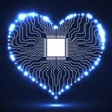 De abstracte raad van de neon elektronische kring in vorm van hart Stock Foto