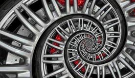 De abstracte rand van het sportwagen spiraalvormige wiel met band, remschijf Automobiele herhaalde patroonillustratie als achterg stock fotografie