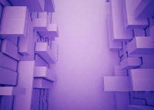De abstracte Rechthoekige doos geeft verscheidene purple gestalte Royalty-vrije Stock Afbeeldingen