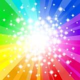De abstracte regenboog kleurde sterachtergrond stock illustratie