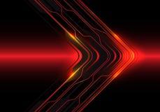 De abstracte richting van de de kringspijl van de rood lichtlijn op zwarte ontwerp moderne futuristische vector als achtergrond stock illustratie