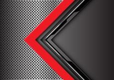 De abstracte rode grijze richting van de kringspijl met lege ruimte op van het het netwerkontwerp van de metaalcirkel moderne de  vector illustratie