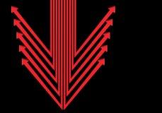 De abstracte rode richting van het pijlensymbool op zwarte lege spacedesign moderne futuristische vector Stock Fotografie
