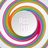 De abstracte ronde cirkelbanner met tekstontwerp op heldere kleurrijke achtergrond van spiraal verdraaide strokenelement voor het stock illustratie