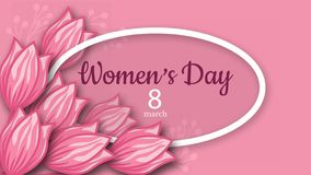 De abstracte Roze Bloemengroetkaart - Internationale Gelukkige Vrouwen` s Dag - 8 Maart-vakantieachtergrond met document sneed Ka vector illustratie