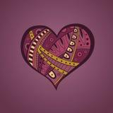 De abstracte roze gele illustratie van het hartpatroon Stock Afbeelding