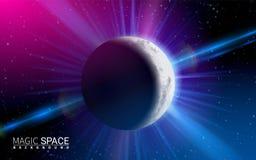 De abstracte Ruimte Glanzende Zon van de Maanplaneet Effect Realistische Ontwerpelementen Vectorillustratie Moderne Achtergrond royalty-vrije stock afbeelding