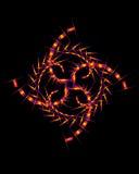 De abstracte samenstelling van de doelloos-kleur met een cijfer van neongeometrica Stock Foto