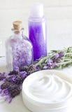 De abstracte samenstelling van de lavendelcosmetics spa lichaamsverzorging Royalty-vrije Stock Afbeeldingen