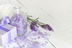 De abstracte samenstelling van de lavendelcosmetics spa lichaamsverzorging Royalty-vrije Stock Fotografie