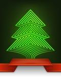 De abstracte samenstelling van het ontwerpstrepen van de Kerstmisboom Stock Afbeelding