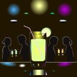 De abstracte scène van de nachtclub met glas van alcohol en paren van mensen royalty-vrije illustratie
