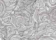 De abstracte schetsmatige krabbels overhandigen getrokken etnisch patroon Royalty-vrije Stock Foto's
