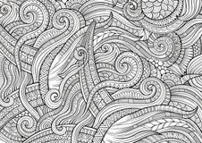 De abstracte schetsmatige krabbels overhandigen getrokken etnisch patroon Stock Foto