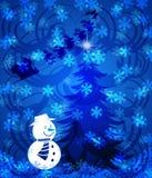 De abstracte Sneeuwman van de Kerstboom op Blauwe Achtergrond Royalty-vrije Stock Afbeeldingen