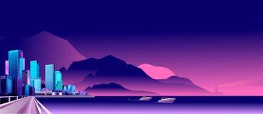 De abstracte stad van de Nacht vector illustratie