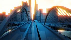 De abstracte stedelijke gebouwen van de ochtendstad Stock Foto