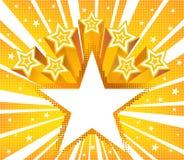 De abstracte ster barstte achtergrond Halftone gouden vectorachtergrond Stock Foto's