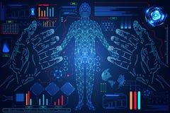De abstracte technologiewetenschap hud zet om: handen digitaal blauw h Royalty-vrije Illustratie