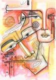 De abstracte tekening van het familieportret vector illustratie