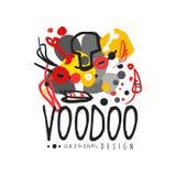 De abstracte tekening van de jong geitjes stijl voor van het Voodoo magisch embleem of etiket ontwerp Godsdienst en cultuurthemad stock illustratie