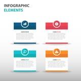 De abstracte tekstvakje elementen bedrijfs van Infographics, vlakke het ontwerp vectorillustratie van het presentatiemalplaatje v Stock Afbeelding