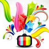 De abstracte televisie met explodeert ster Stock Foto's
