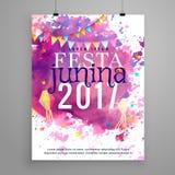 De abstracte uitnodiging van festajunina 2017 met waterverfeffect stock illustratie