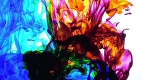 De abstracte uitstekende kleurrijke verf spreidt in water achtergrondtextuur uit stock videobeelden
