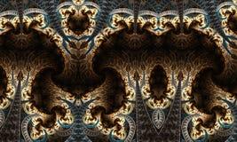 De abstracte unieke artistieke 3d computer produceerde midden eindeloos fractals patronenkunstwerk stock illustratie