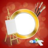 De abstracte van de de verfborstel van het achtergrondschildersezelbeeld illustratie van het de cirkelkader rode gele gouden Royalty-vrije Stock Afbeeldingen