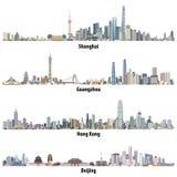 De abstracte vector detailleerde hoog illustraties van de horizonnen van Shanghai, van Hong Kong, van Guangzhou en van Peking Stock Foto's