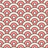 De abstracte vector naadloze ronde van patroon eenvoudige golven met monsters Royalty-vrije Stock Afbeeldingen