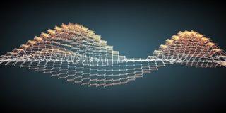 De abstracte vector oranje achtergrond van het golfnetwerk De serie van de puntwolk Chaotische lichte golven Stock Afbeeldingen
