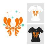 De abstracte vector van de Vlinder T-shirt Grafisch Ontwerp Royalty-vrije Stock Foto