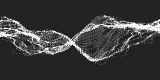De abstracte vectorachtergrond van het golfnetwerk De serie van de puntwolk Chaotische lichte golven Technologische cyberspace ac Royalty-vrije Stock Fotografie