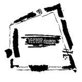 De abstracte vectorbanner van de grungestijl Vuile hand die artistiek geïsoleerd ontwerpelement trekken op witte achtergrond Zwar vector illustratie