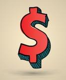 De abstracte vectorillustratie van het dollarteken Stock Afbeelding