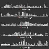 De abstracte vectorillustraties van de stadshorizonnen van Doubai, van Abu Dhabi, van Doha, Riyadh en van Koeweit bij nacht in gr royalty-vrije illustratie