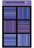 De abstracte vectorreeks van het strookpatroon. Violette kleuren Stock Fotografie
