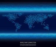 De abstracte verbinding van de wereldkaart mondiaal net op binaire codeachtergrond Vector stock illustratie