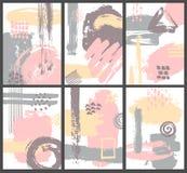 De abstracte verfborstel strijkt zachte gekleurde affiches Royalty-vrije Stock Afbeeldingen