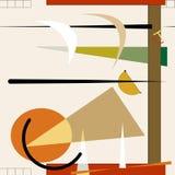 De abstracte vierkante grijze achtergrond, stelt zich kleurrijke geometrische vormen voor Royalty-vrije Stock Afbeeldingen