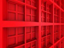 De abstracte Vierkante Rode Achtergrond van de Ontwerparchitectuur Royalty-vrije Stock Afbeelding